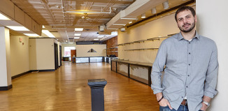 Birdseye Lounge cofounder Michael Behrmann stands in the space before it opened last year.