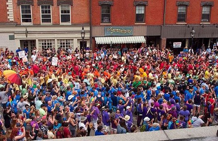 Portsmouth Pride participants fill the streets during last year's event.