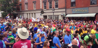 About 2,000 people took part in last year's Pride March in downtown Portsmouth, NH.