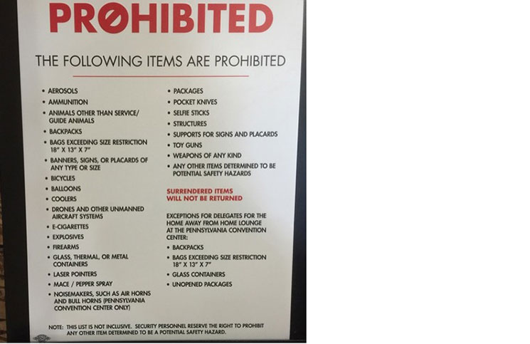 A list of items prohibited from the Democratic National Convention by Homeland Security.