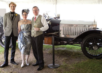 "Janet Larose with her husband Larry (right) and designer Austin Scarlett (of ""Project Runway"" fame) at the Passion for Fashion Gala at Strawbery Banke Museum in 2012."