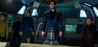 """Chris Pine (center) may still be in charge of the Enterprise, but Simon Pegg (far right) takes control of the script in """"Star Trek Beyond."""""""