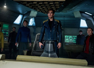 "Chris Pine (center) may still be in charge of the Enterprise, but Simon Pegg (far right) takes control of the script in ""Star Trek Beyond."""