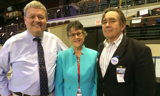 York County delegates to the Democratic National Convention, from left to right, Chris Babbidge, Diane Denk, and Deane Rykerson.
