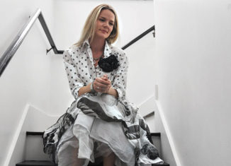 A model wears clothing by Brentwood-based designer Krista Larson.