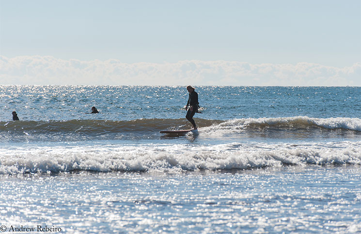 Phil Brown of New Jersey cruises down the line on a Grain surfboard at Long Sands Beach.