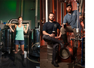 At left, Nicole Gray of Garrison City Beerworks. At right, Nate Sephton and Josh Henry of 7th Settlement Brewery. photos by Michael Penney