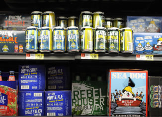 Beer on the shelves at Walmart, including the faux-craft product Cat's Away IPA