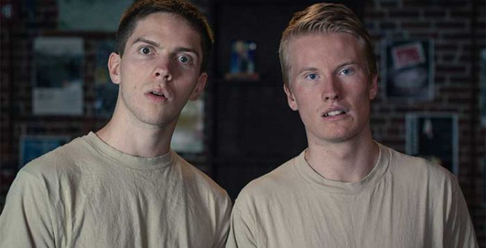 """Emery Lawrence (left) and Bailey Weakley star in """"The Other Two Men"""" at The Players' Ring in Portsmouth, NH."""