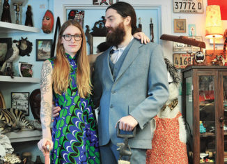 Engaged couple Tiffany Landry and Jonathan Lessard inside their store, Lost Coast, in Kittery, Maine.